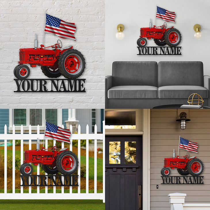 American Flag Red Tractor Personalized Custom Name Metal Sign