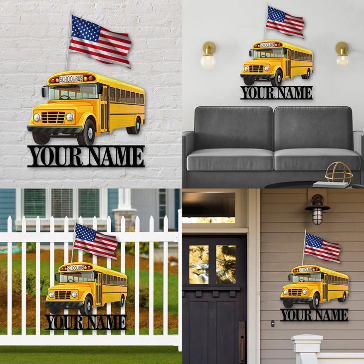 American Flag School Bus Personalized Custom Name Metal Sign2