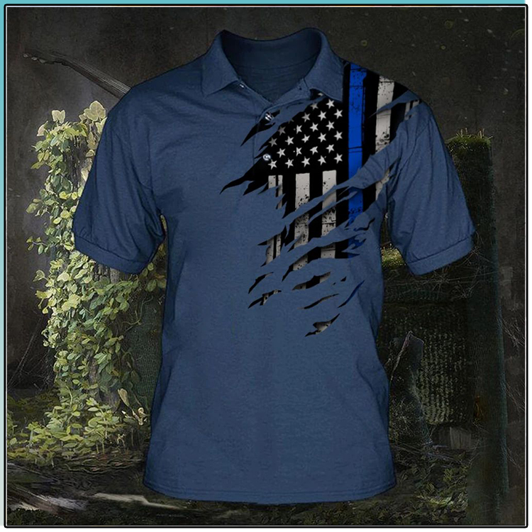 American Flag Thin Blue Line Polo Shirt1
