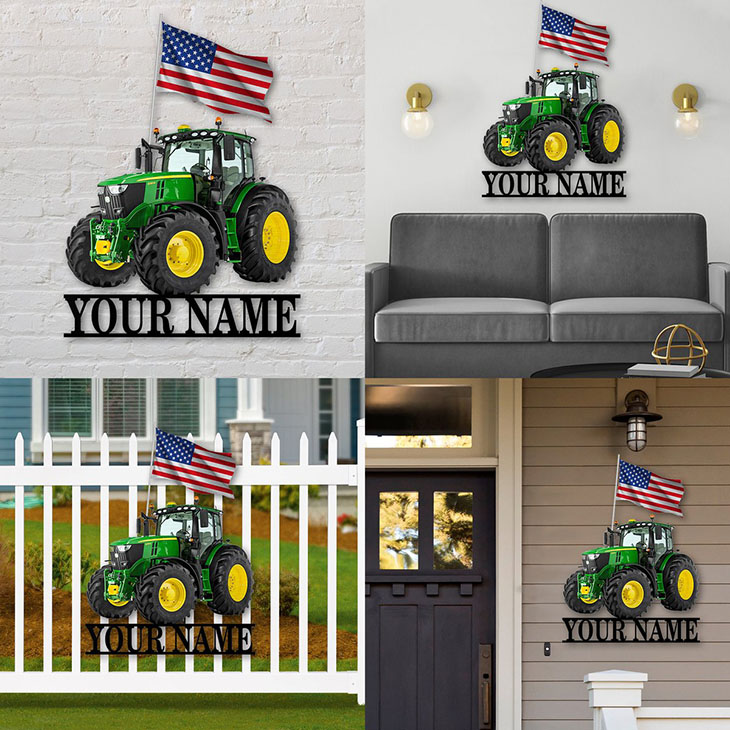 American Flag Tractor Custom Personalized Metal Sign1