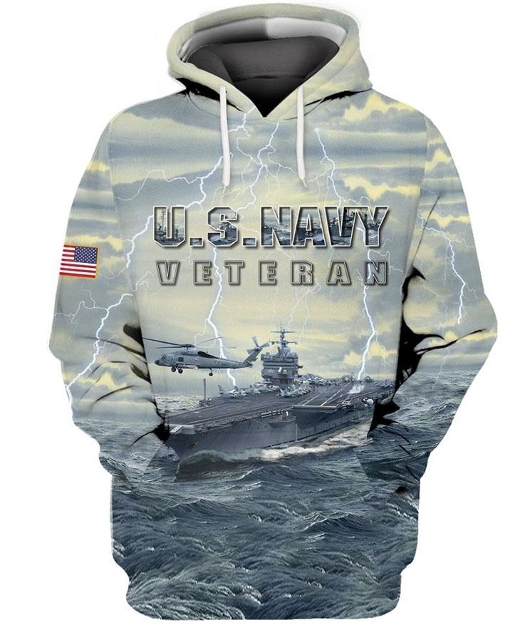American Flag U S Navy Veteran 3D HoodieShirt