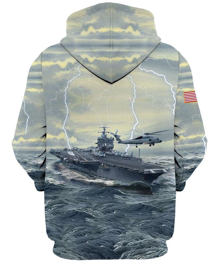 American Flag U S Navy Veteran 3D HoodieShirt1