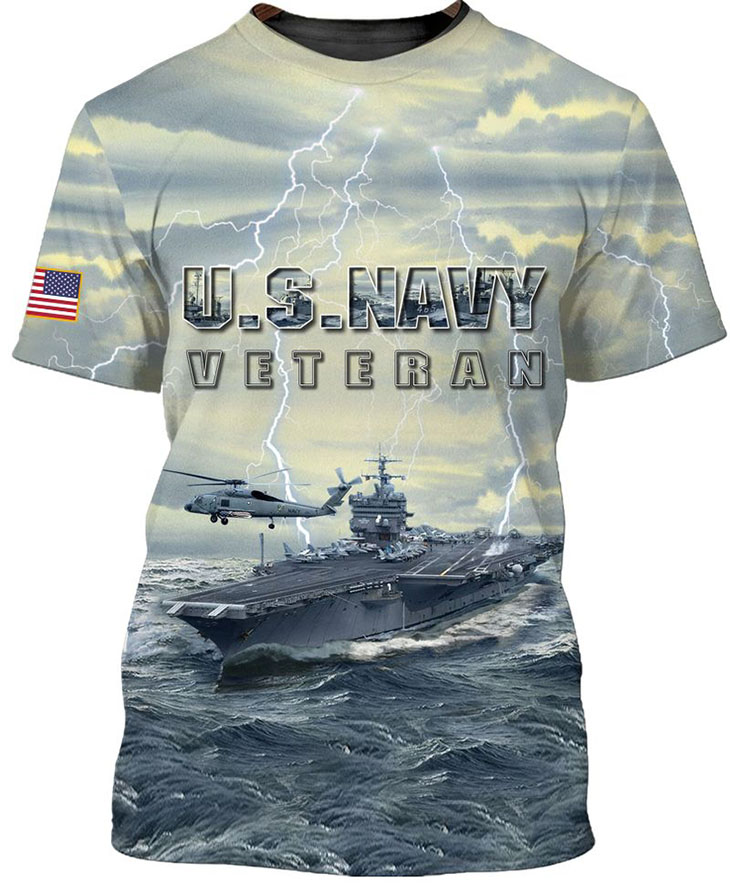 American Flag U S Navy Veteran 3D HoodieShirt2