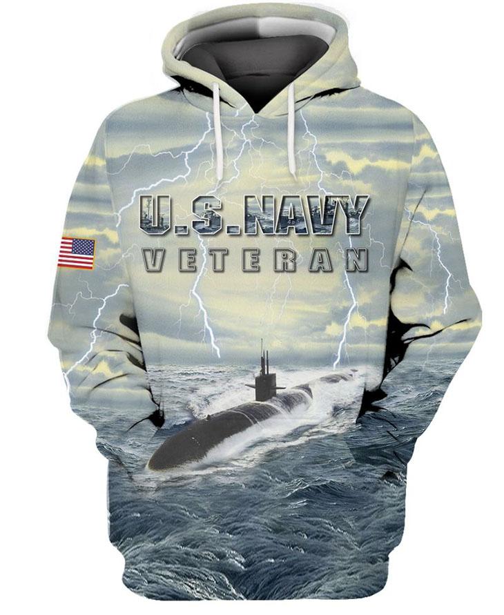 American Flag U S Navy Veteran Submarine 3D HoodieShirt4
