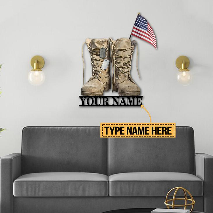 American Flag Veteran Boost Custom Name Metal Sign