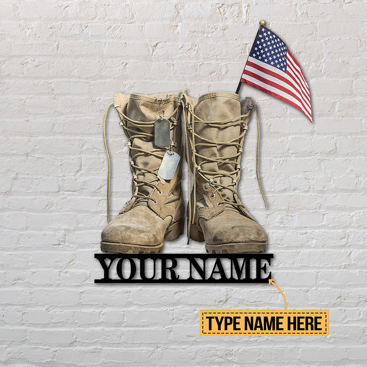 American Flag Veteran Boost Custom Name Metal Sign3