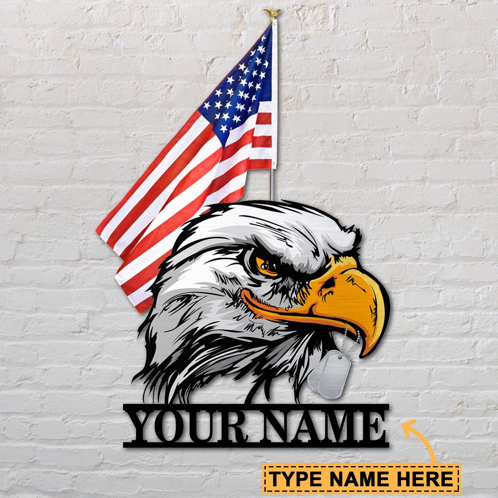 American flag eagle custom personalized metal sign 1