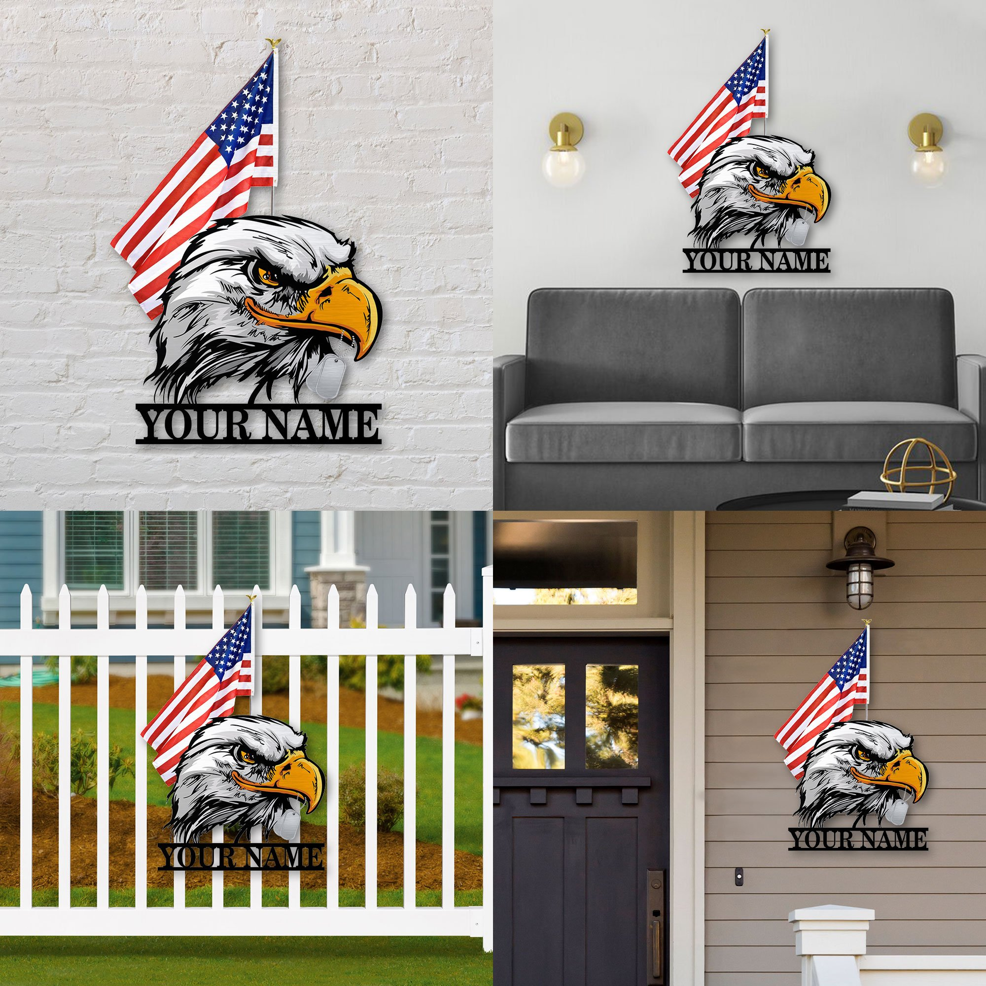 American flag eagle custom personalized metal sign 5