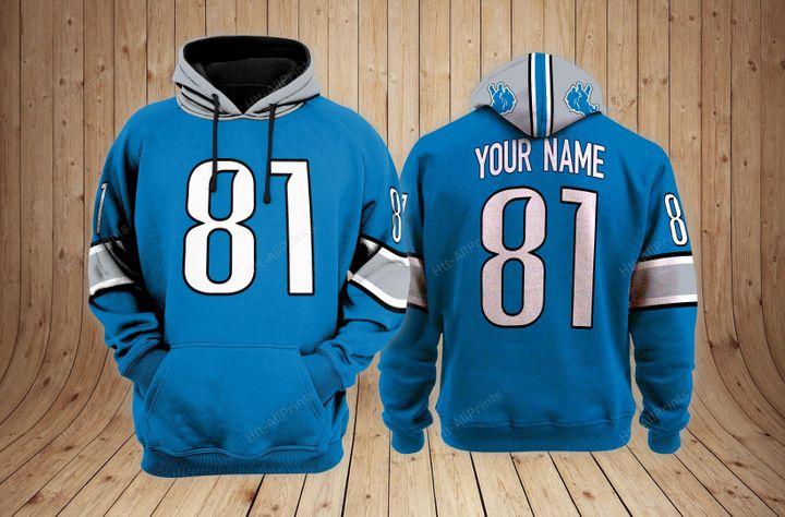 Detroit lions custom name 3d hoodie