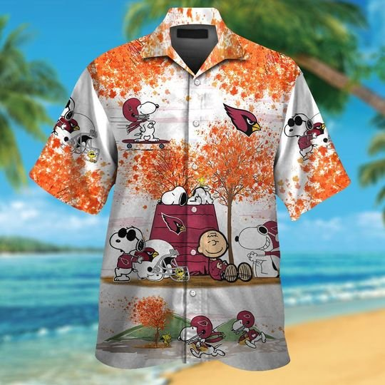 Arizona cardinals Snoopy autumn hawaiian shirtshort1