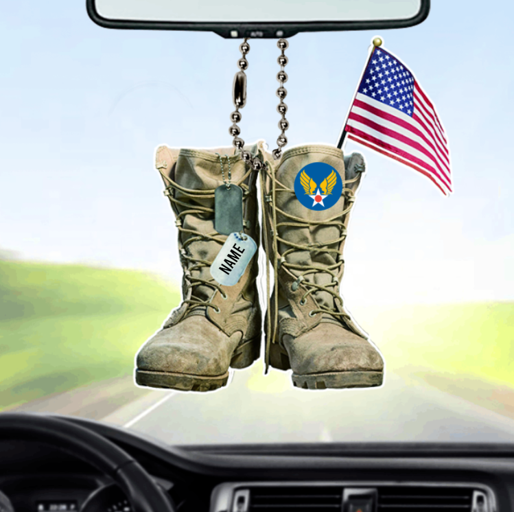 Army Air Corps Military Boots Personalized Car Ornament