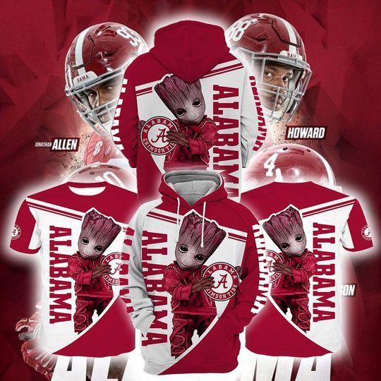 Baby Groot Alabama crimson tide 3d all over print hoodie