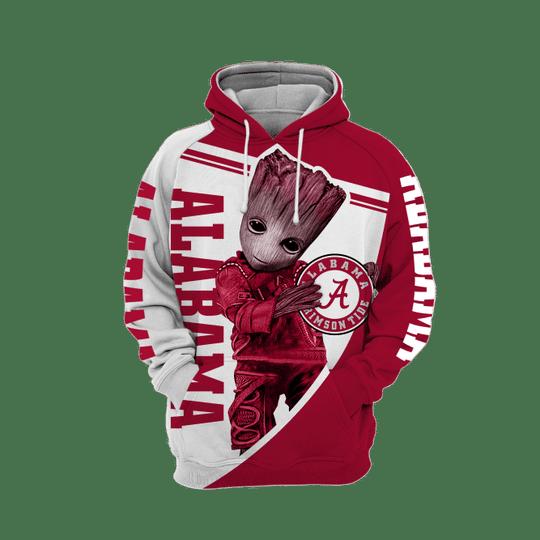 Baby Groot Alabama crimson tide 3d all over print hoodie1