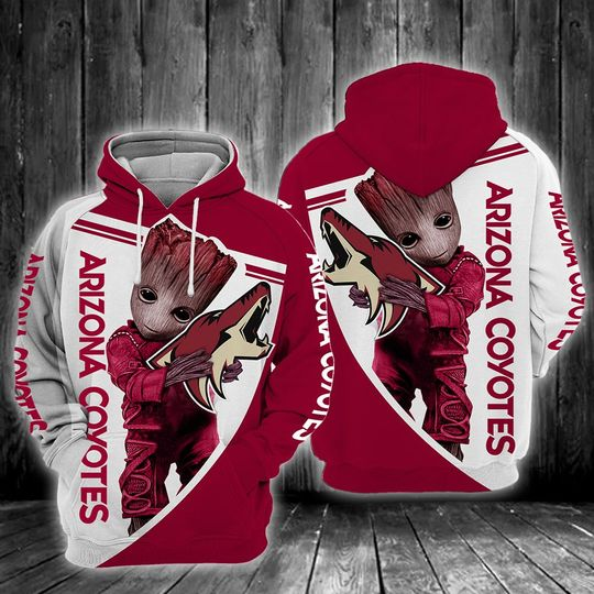 Baby Groot Arizona coyotes 3d all over print hoodie