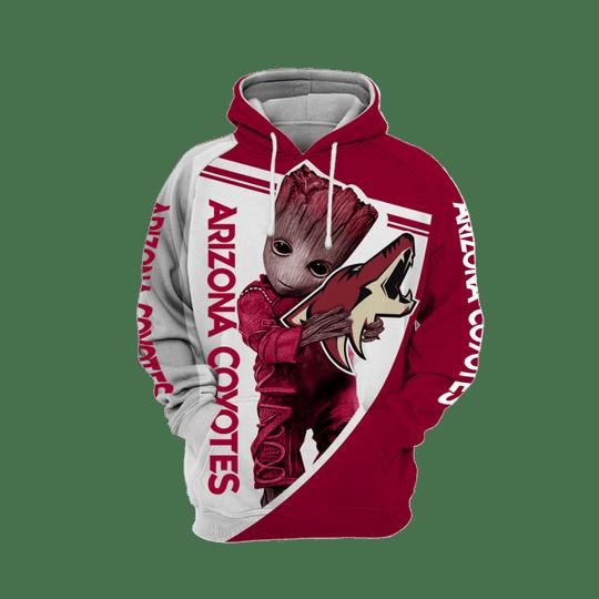 Baby Groot Arizona coyotes 3d all over print hoodie1
