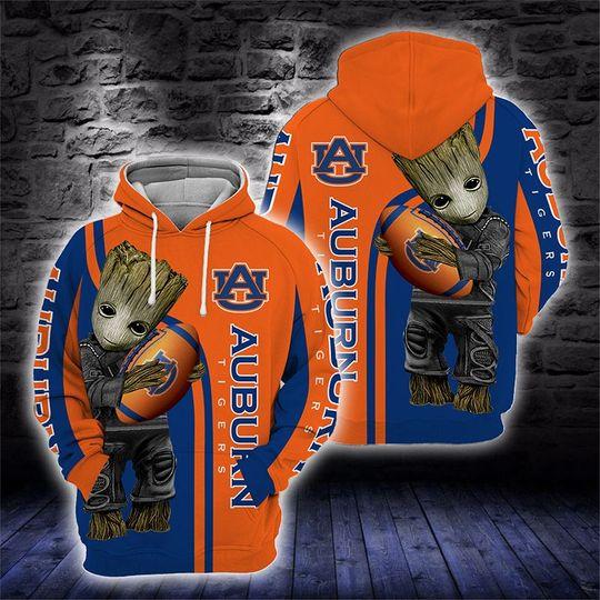 Baby Groot Auburn tigers 3d all over print hoodie