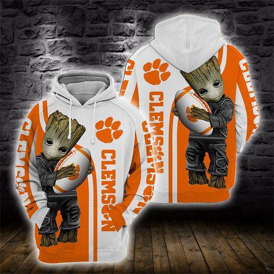Baby Groot Clemson tigers 3d all over print hoodie