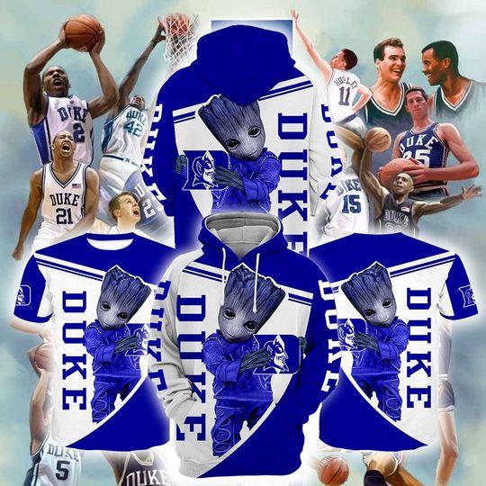 Baby Groot Duke blue devils 3d all over print hoodie