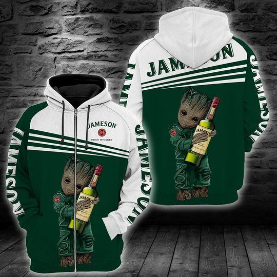 Baby Groot jameson irish whiskey 3d all over print hoodie