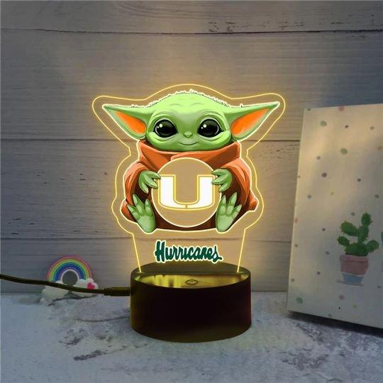 Baby Yoda Miami Hurricanes NCAA led lamp