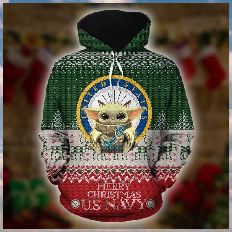 Baby Yoda US Navy Merry Christmas 3d Hoodie 1