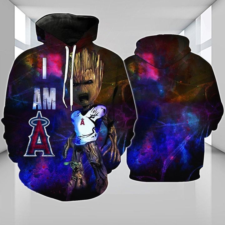 Baby groot Los angeles angels 3d hoodie 1