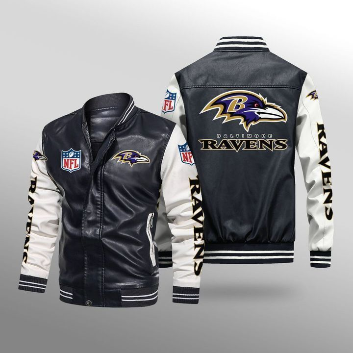 Baltimore Ravens Leather Bomber Jacket 1