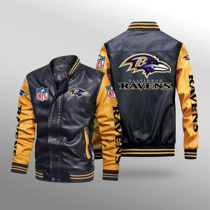 Baltimore Ravens Leather Bomber Jacket 3