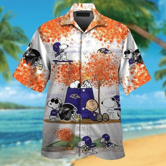 Baltimore ravens Snoopy autumn hawaiian shirtshort1