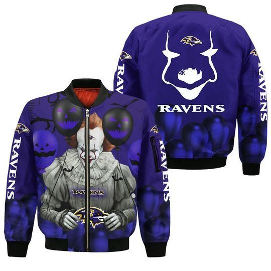 Baltimore ravens pennywise the dancing clown it halloween 3d all over print hoodie3