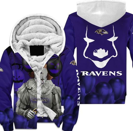 Baltimore ravens pennywise the dancing clown it halloween 3d all over print hoodie4
