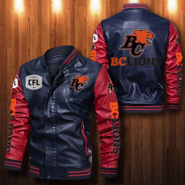 Bc Lions Leather Bomber Jacket 4