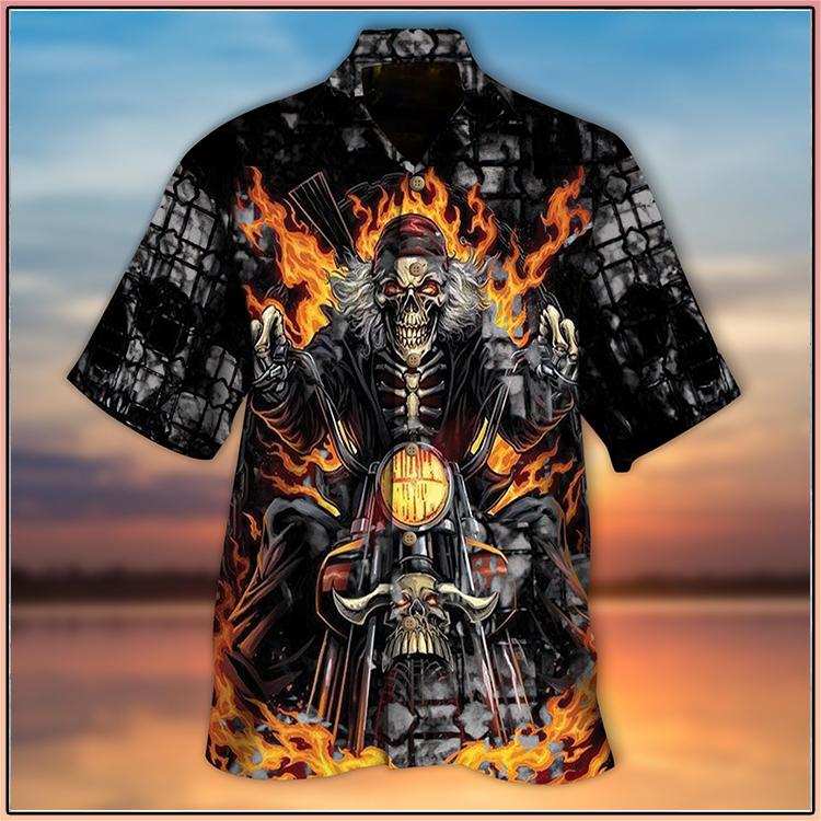 Biker skull hawaiian shirt3