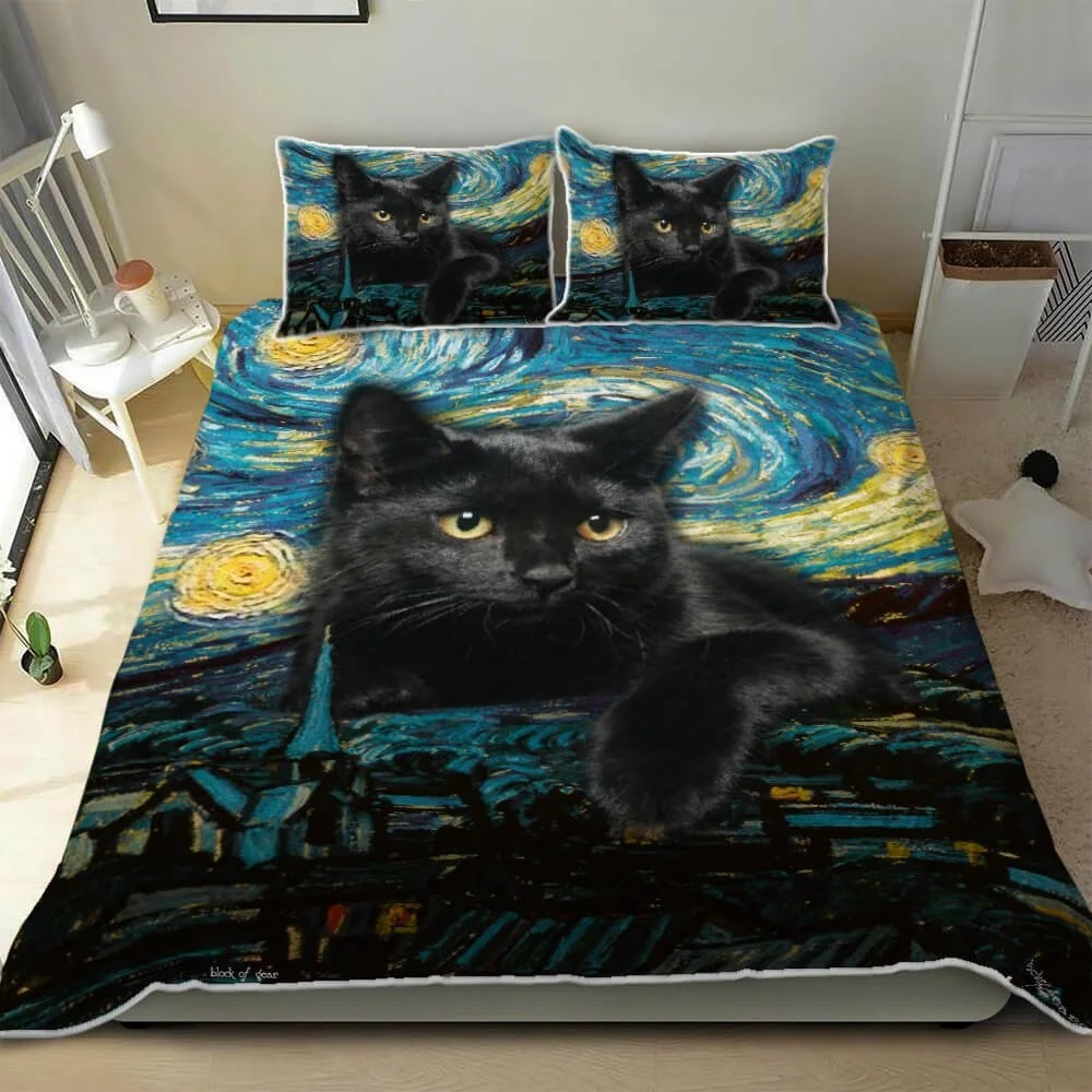 Black Cat Starry Night Quilt Bedding Set 2