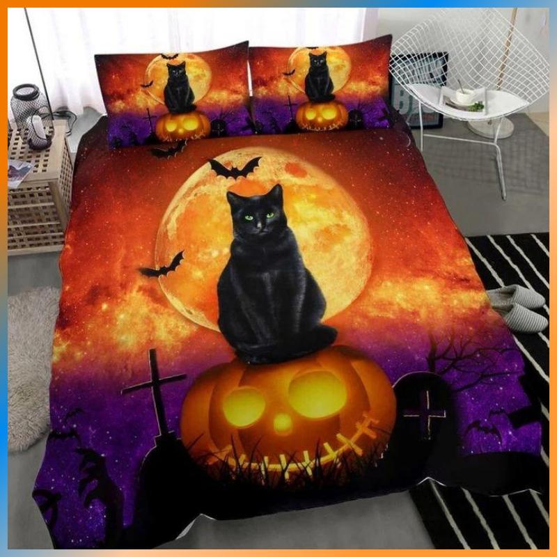 Black cat Halloween bedding set 1.1