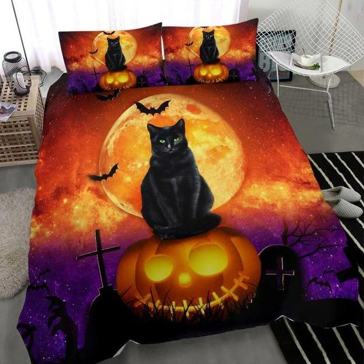 Black cat Halloween bedding set 1