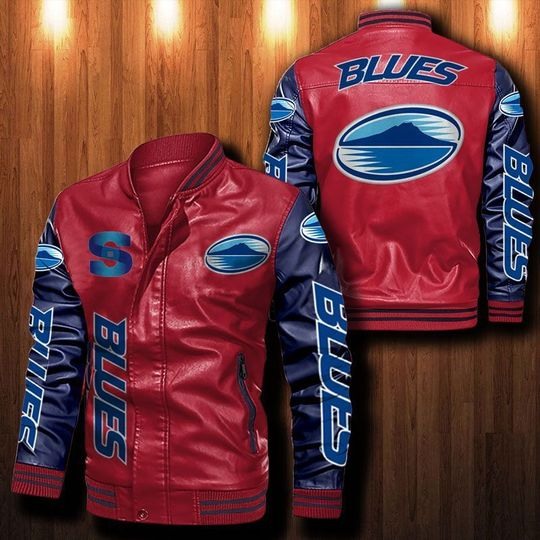 Blues Rugby Leather Bomber Jacket1