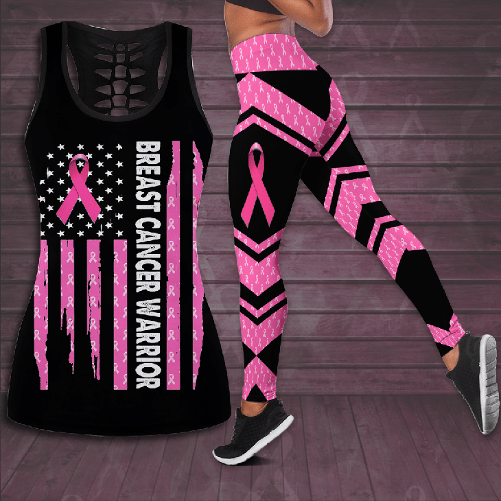 Breast Cancer Warrior Hollow Tank Top And Leggings2