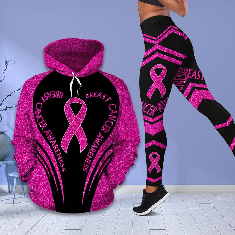 Breast cancer awareness month I wear pink survivor fight like a girl hoodie and legging