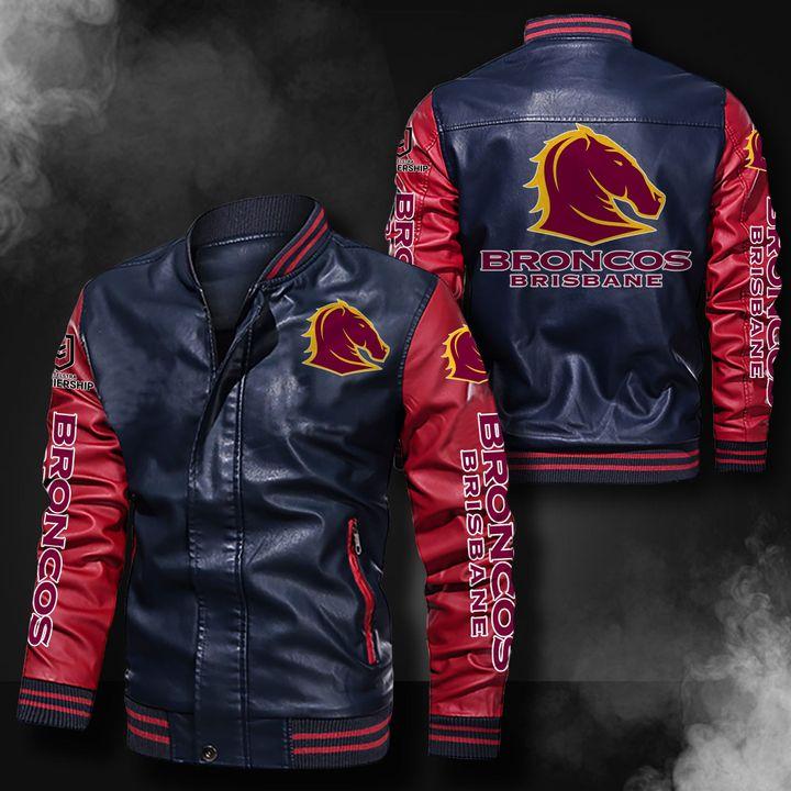 Brisbane Broncos Leather Bomber Jacket 4