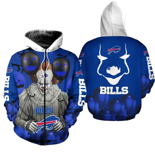 Buffalo bills pennywise the dancing clown it halloween 3d all over print hoodie