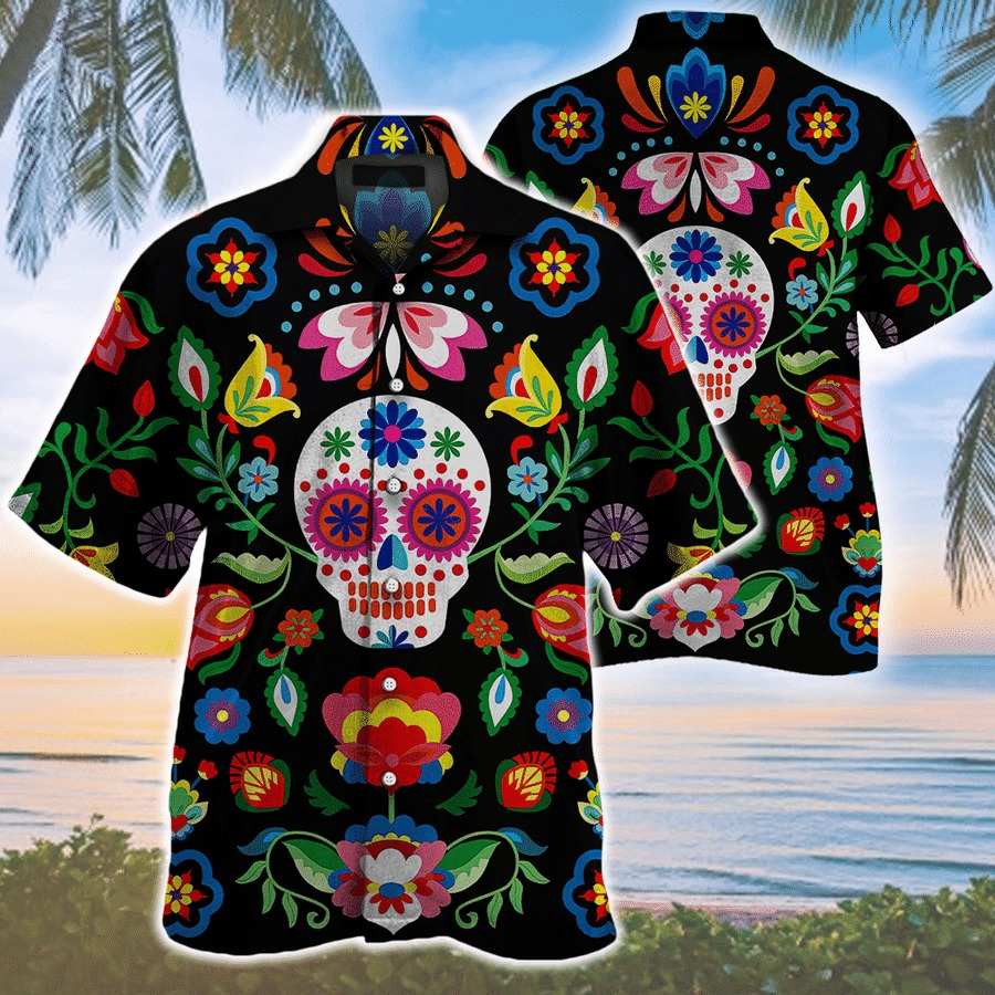 Butterflies And Flowers Sugar Skull Roses Pattern Hawaiian Shirt