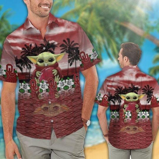 18 Oklahoma Sooners And Baby Yoda Hawaiian Shirt Short 1