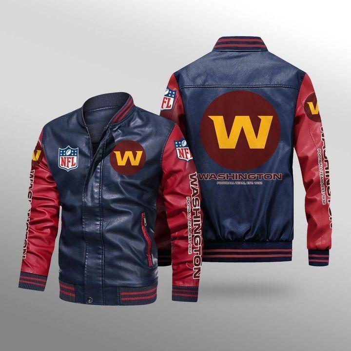 Washington Football Team Leather Bomber Jacket 4