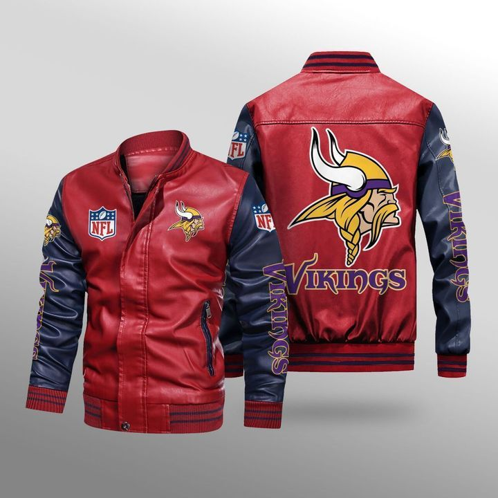 Minnesota Vikings Leather Bomber Jacket 2