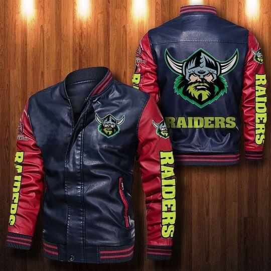 Canberra Raiders Leather Bomber Jacket1