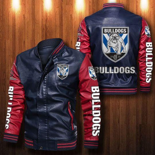 Canterbury bankstown Bulldogs Leather Bomber Jacket
