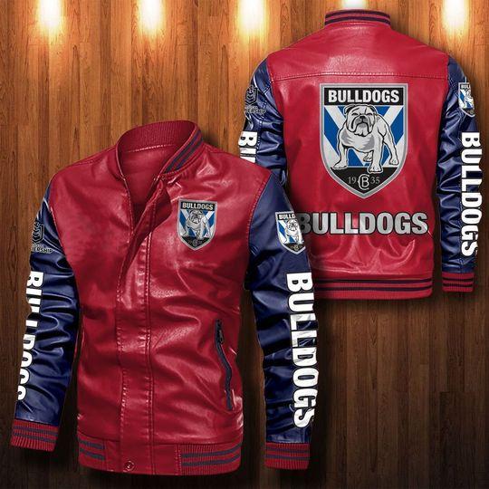 Canterbury bankstown Bulldogs Leather Bomber Jacket1