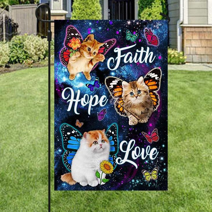 Cat Butterfly Faith Hope Love Flag1