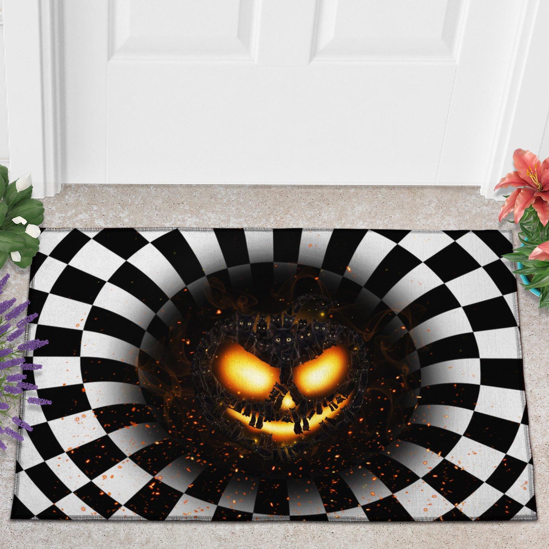 Cat pumpkin illusion doormat 1